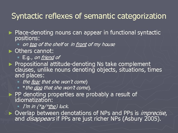 Syntactic reflexes of semantic categorization ► Place-denoting nouns can appear in functional syntactic positions: