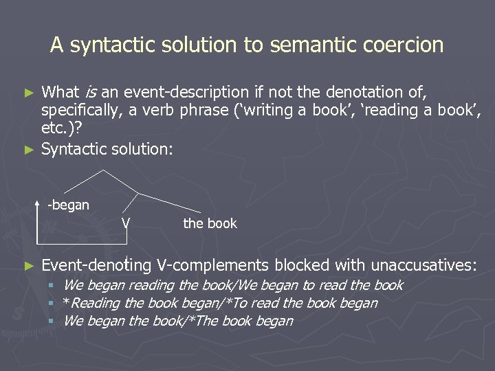 A syntactic solution to semantic coercion What is an event-description if not the denotation