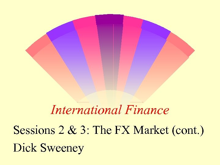 International Finance Sessions 2 & 3: The FX Market (cont. ) Dick Sweeney