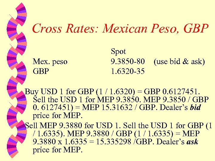 Cross Rates: Mexican Peso, GBP Mex. peso GBP Spot 9. 3850 -80 1. 6320