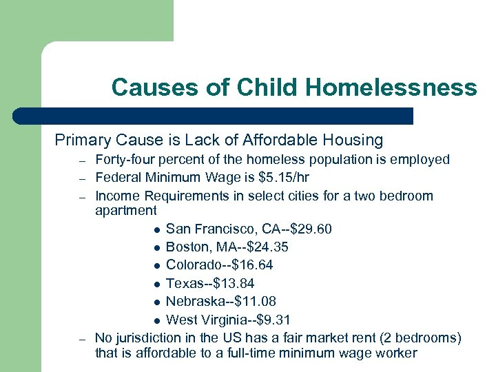Causes of Child Homelessness Primary Cause is Lack of Affordable Housing – – Forty-four