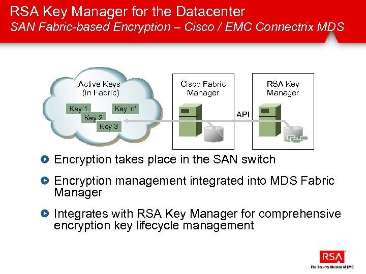 RSA Key Manager for the Datacenter SAN Fabric-based Encryption – Cisco / EMC Connectrix