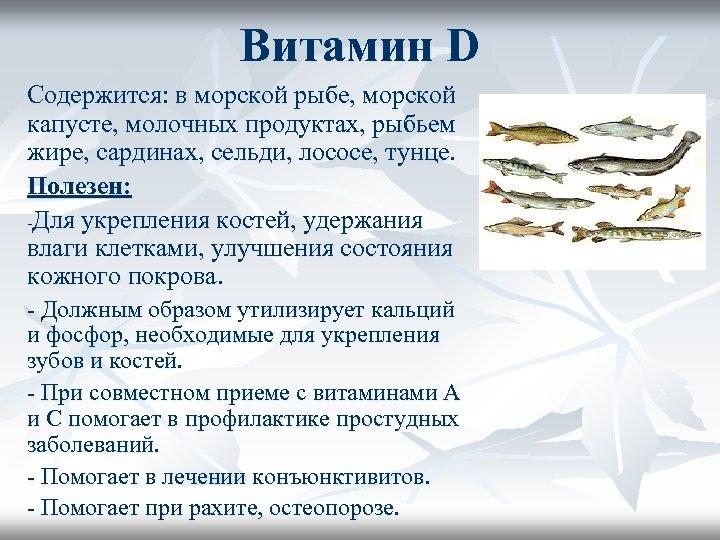 Витамин D Содержится: в морской рыбе, морской капусте, молочных продуктах, рыбьем жире, сардинах, сельди,