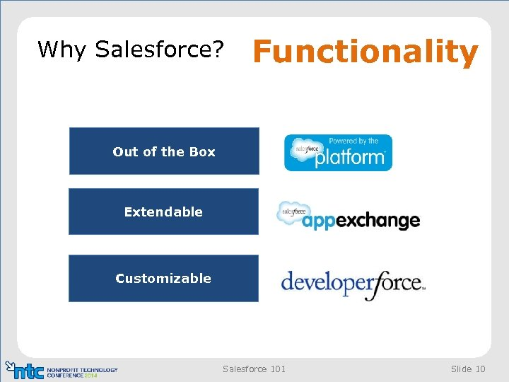 Why Salesforce? Functionality Out of the Box Extendable Customizable Salesforce 101 Slide 10