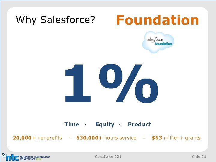 Why Salesforce? Foundation 1% Time · 20, 000+ nonprofits · Equity · Product 530,