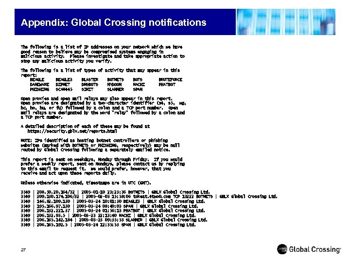 Appendix: Global Crossing notifications The following is a list of IP addresses on your