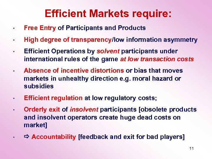 Efficient Markets require: • Free Entry of Participants and Products • High degree of