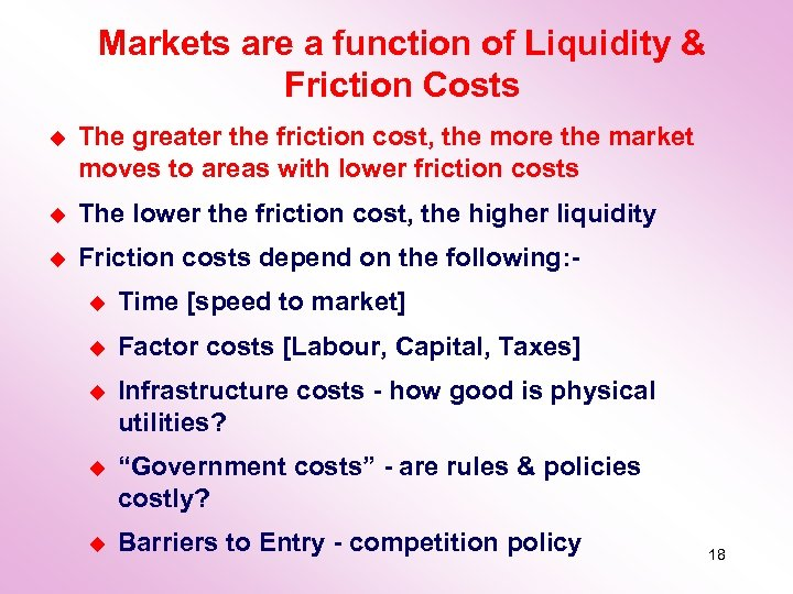 Markets are a function of Liquidity & Friction Costs u The greater the friction