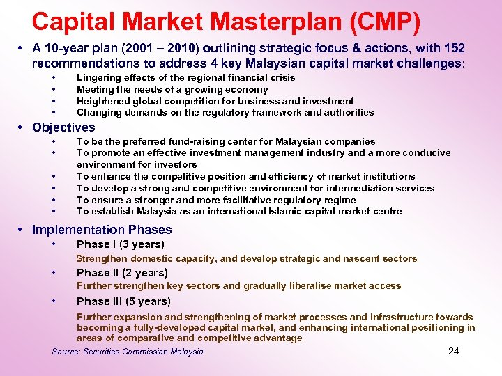 Capital Market Masterplan (CMP) • A 10 -year plan (2001 – 2010) outlining strategic