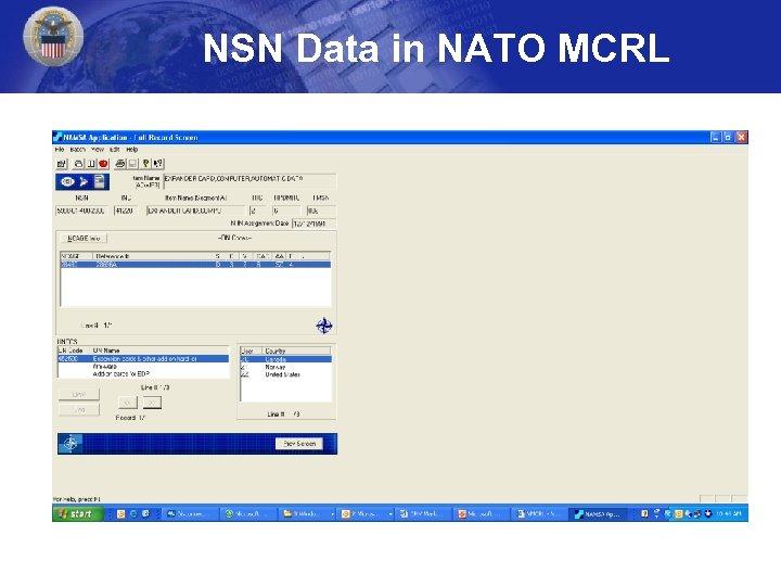 NSN Data in NATO MCRL