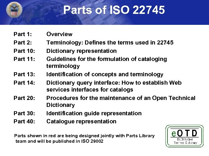 Parts of ISO 22745 Part 1: Part 2: Part 10: Part 11: Part 13: