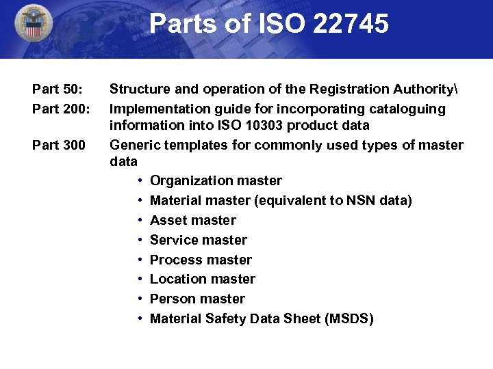 Parts of ISO 22745 Part 50: Part 200: Part 300 Structure and operation of