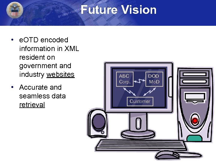 Future Vision • e. OTD encoded information in XML resident on government and industry