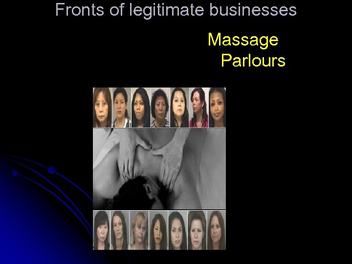 Fronts of legitimate businesses Massage Parlours
