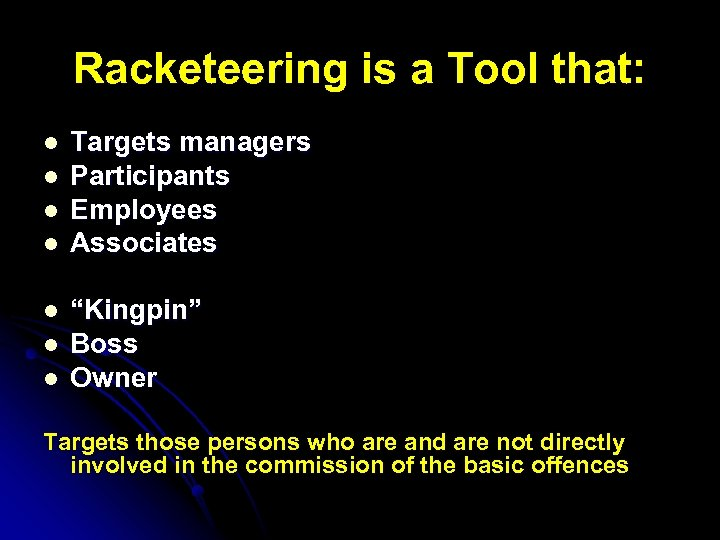 Racketeering is a Tool that: l l l l Targets managers Participants Employees Associates