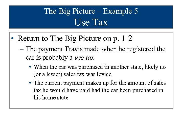 The Big Picture – Example 5 Use Tax • Return to The Big Picture