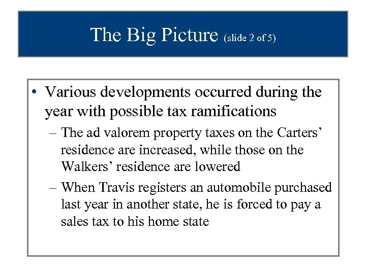 The Big Picture (slide 2 of 5) • Various developments occurred during the year