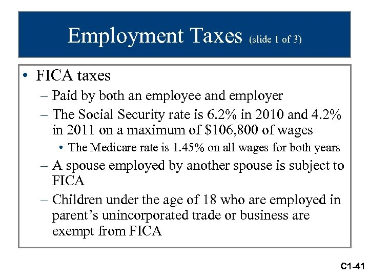Employment Taxes (slide 1 of 3) • FICA taxes – Paid by both an