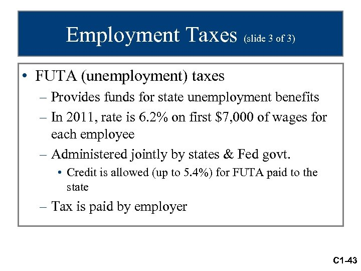 Employment Taxes (slide 3 of 3) • FUTA (unemployment) taxes – Provides funds for