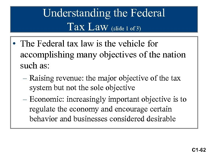 Understanding the Federal Tax Law (slide 1 of 3) • The Federal tax law