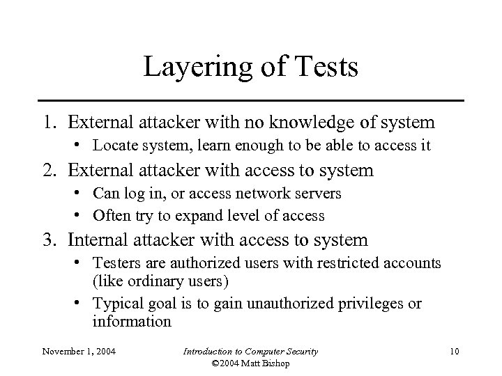 Layering of Tests 1. External attacker with no knowledge of system • Locate system,
