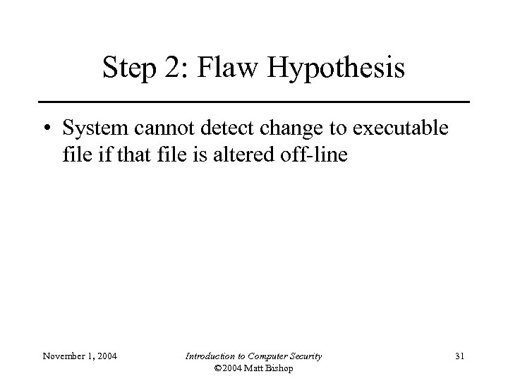 Step 2: Flaw Hypothesis • System cannot detect change to executable file if that
