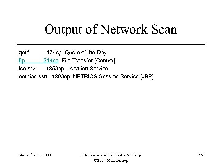 Output of Network Scan qotd 17/tcp Quote of the Day ftp 21/tcp File Transfer