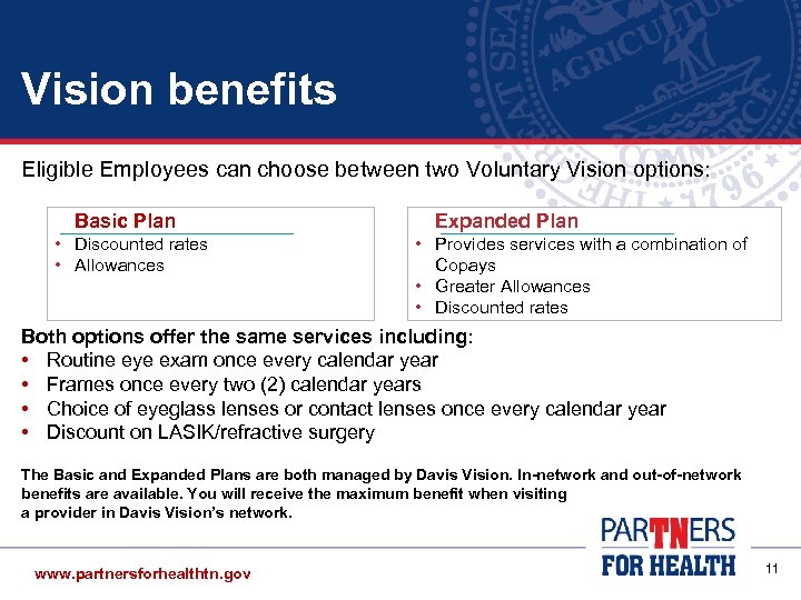Vision benefits Eligible Employees can choose between two Voluntary Vision options: Basic Plan •