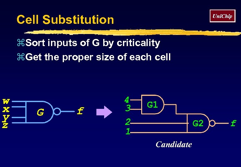 Cell Substitution Uni. Chip z. Sort inputs of G by criticality z. Get the