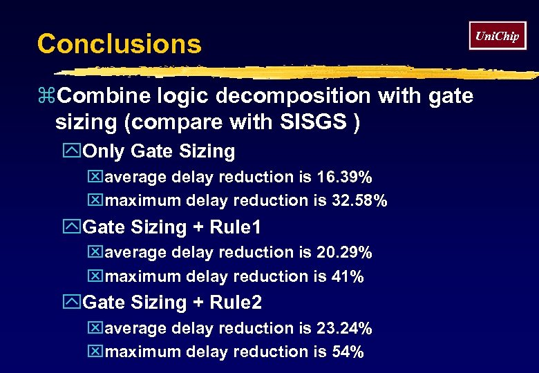 Conclusions z. Combine logic decomposition with gate sizing (compare with SISGS ) y. Only