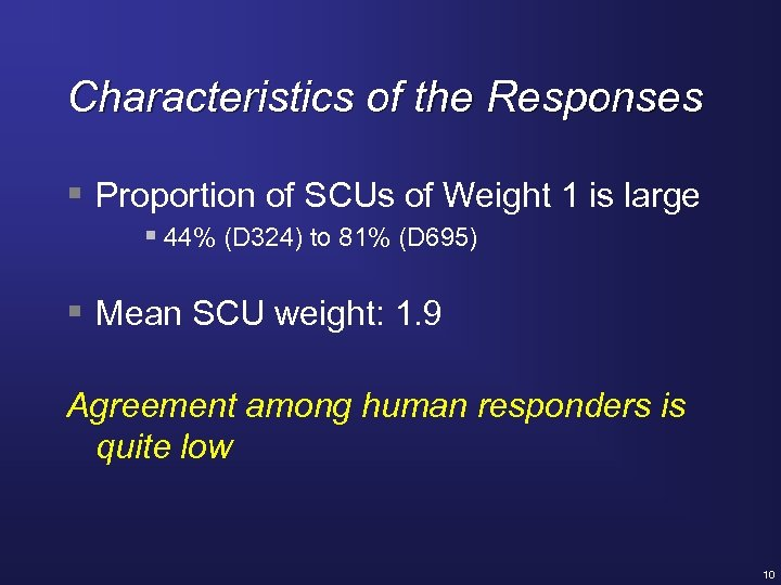Characteristics of the Responses § Proportion of SCUs of Weight 1 is large §
