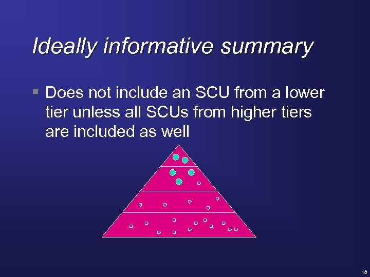 Ideally informative summary § Does not include an SCU from a lower tier unless