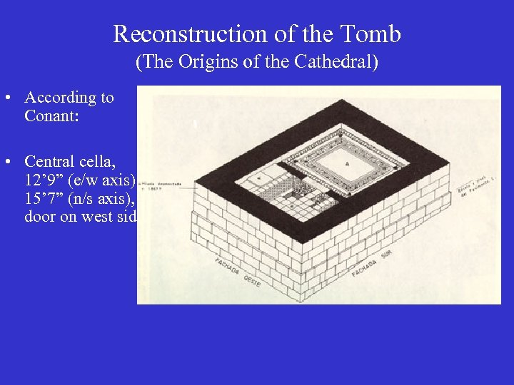 Reconstruction of the Tomb (The Origins of the Cathedral) • According to Conant: •