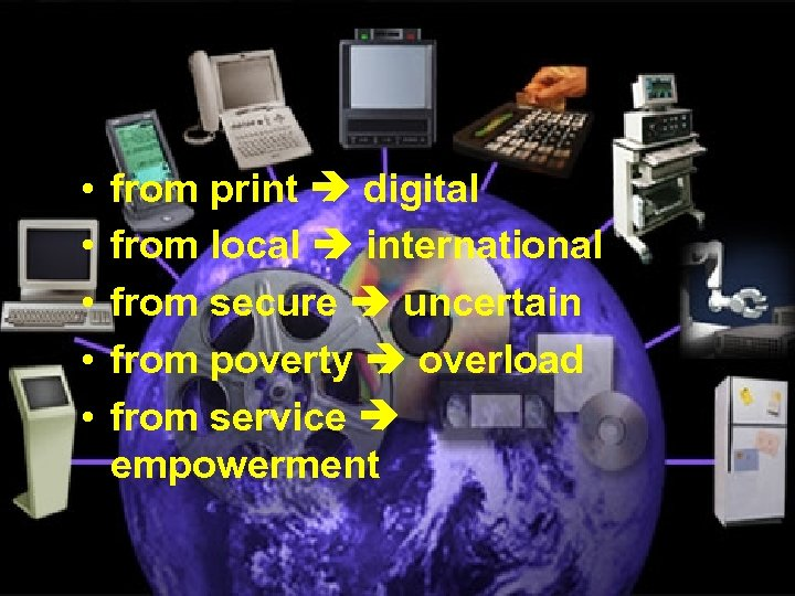 The Information Environment • • • from print digital from local international from secure
