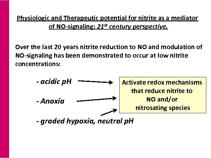 Physiologic and Therapeutic potential for nitrite as a mediator of NO-signaling: 21 st century