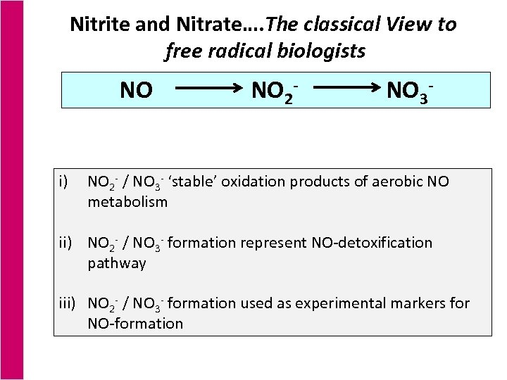 Nitrite and Nitrate…. The classical View to free radical biologists NO i) NO 2