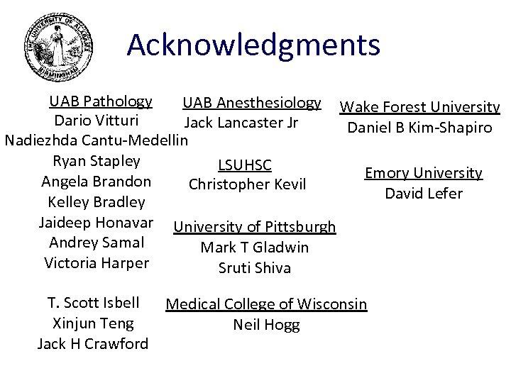 Acknowledgments UAB Pathology UAB Anesthesiology Wake Forest University Dario Vitturi Jack Lancaster Jr Daniel