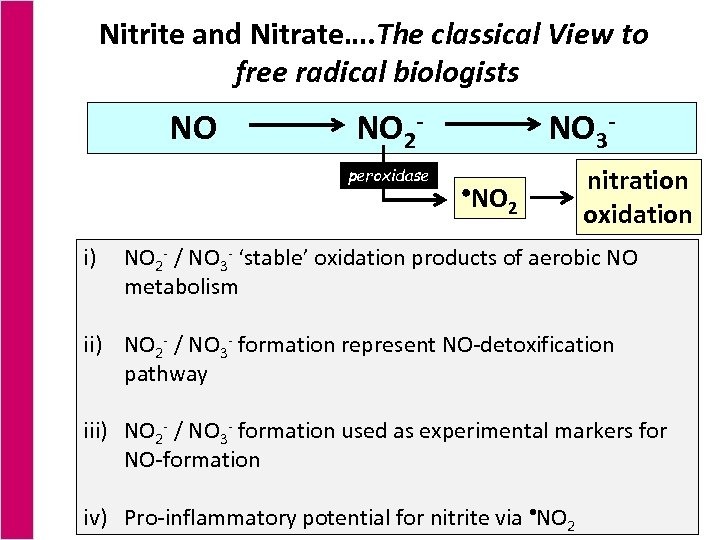 Nitrite and Nitrate…. The classical View to free radical biologists NO NO 2 peroxidase