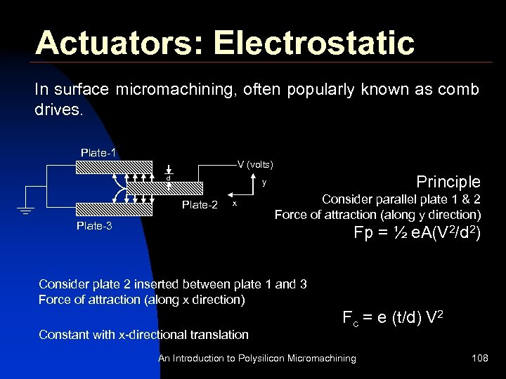 Actuators: Electrostatic In surface micromachining, often popularly known as comb drives. Plate-1 V (volts)