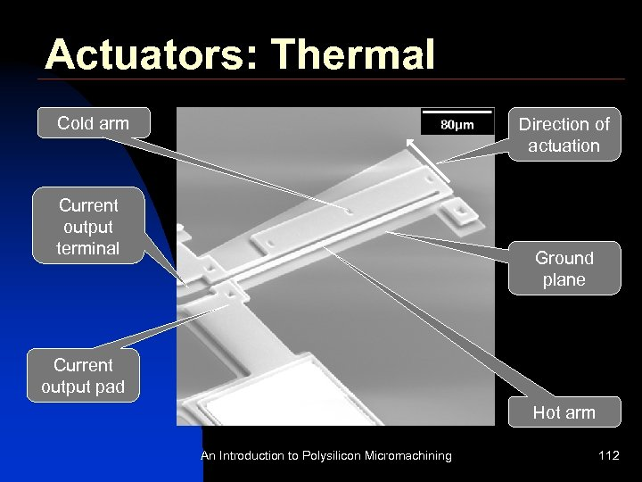 Actuators: Thermal Cold arm Direction of actuation Current output terminal Ground plane Current output