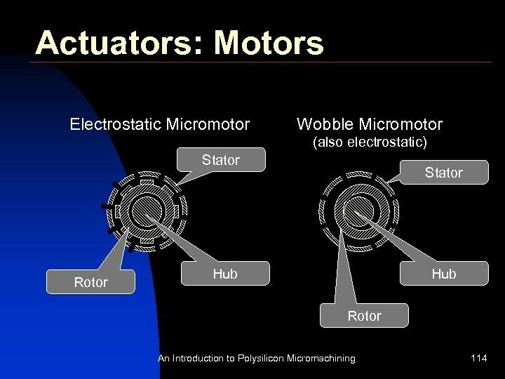 Actuators: Motors Electrostatic Micromotor Wobble Micromotor (also electrostatic) Stator Rotor Stator Hub Rotor An