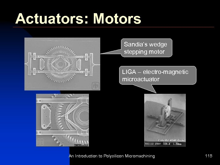 Actuators: Motors Sandia's wedge stepping motor LIGA – electro-magnetic microactuator An Introduction to Polysilicon