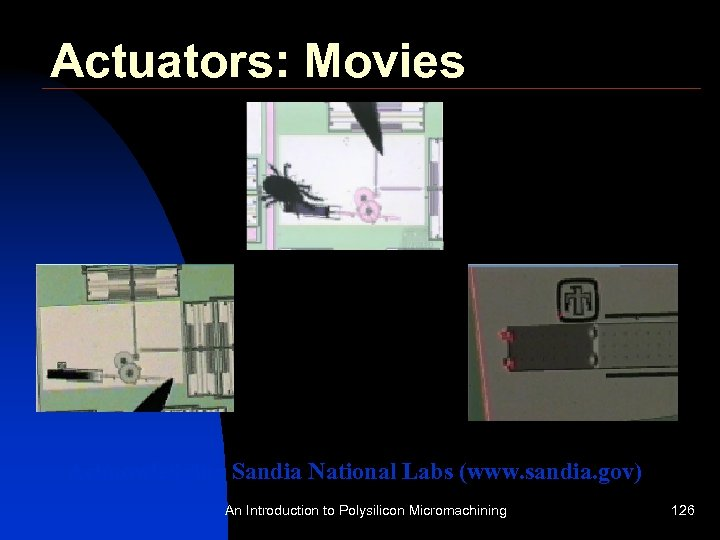Actuators: Movies Acknowledging Sandia National Labs (www. sandia. gov) An Introduction to Polysilicon Micromachining