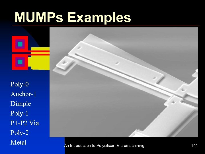 MUMPs Examples Sample Design: Thermal Actuator Poly-0 Anchor-1 Dimple Poly-1 P 1 -P 2