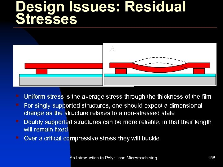 Design Issues: Residual Stresses § § Uniform stress is the average stress through the