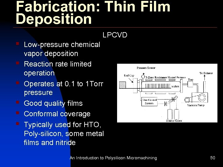 Fabrication: Thin Film Deposition § § § LPCVD Low-pressure chemical vapor deposition Reaction rate