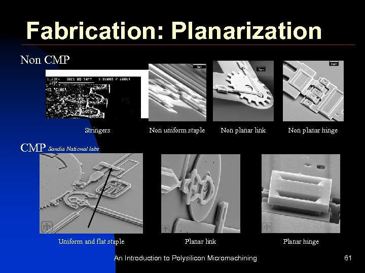 Fabrication: Planarization Non CMP Stringers Non uniform staple Non planar link Non planar hinge