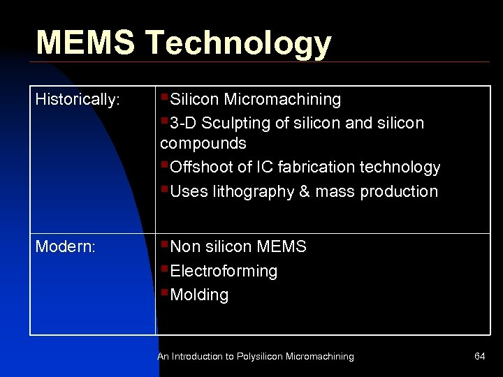 MEMS Technology Historically: §Silicon Micromachining § 3 -D Sculpting of silicon and silicon compounds