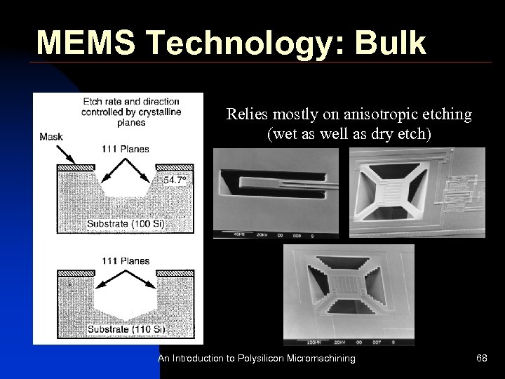 MEMS Technology: Bulk Relies mostly on anisotropic etching (wet as well as dry etch)