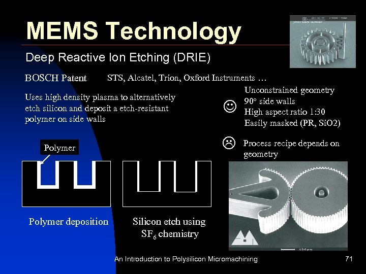 MEMS Technology Deep Reactive Ion Etching (DRIE) BOSCH Patent STS, Alcatel, Trion, Oxford Instruments